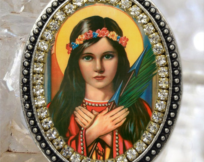 St. Philomena: Patron Saint of Babies, Infants, and Youth Handmade Necklace Catholic Christian Religious Jewelry Medal Pendant