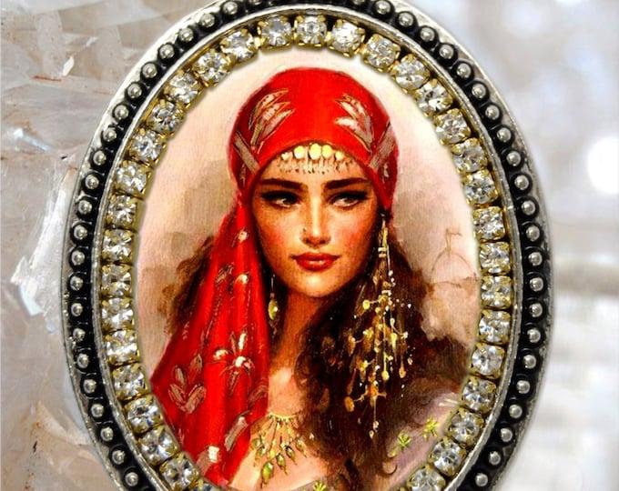 Gypsy Woman Handmade Necklace Honor to Saint Sarah Kali or Sara Kali Gypsies Patron Saint Jewelry Medal Pendant