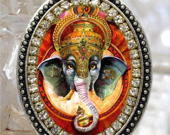 Lord Ganesha Handmade Necklace Hindu Jewelry Medal Pendant Ganesh Chatutthi or Ganesh