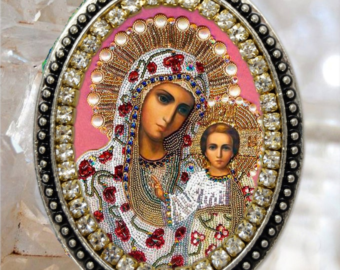 Our Lady of Kazan Handmade Necklace Catholic Christian Religious Jewelry Medal Pendant Our Lady of Perpetual Succour Theotokos