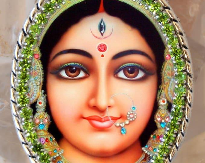 Goddess Parvati Handmade Necklace Hindu Jewelry Medal Pendant