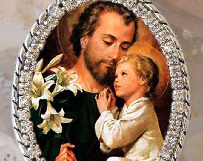 St. Joseph Handmade Necklace Catholic Christian Religious Jewelry Medal Pendant São José