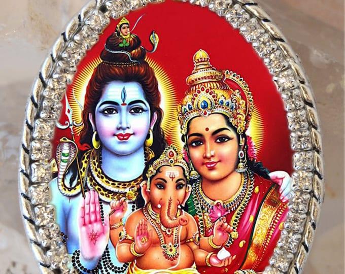 Lord Shiva, Goddess Parvati, Lord Ganesh or Ganesha Handmade Necklace Hindu Jewelry Medal Pendant