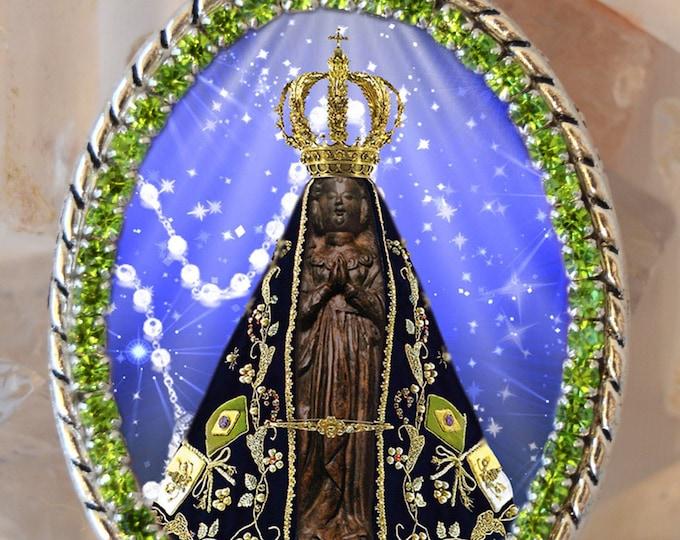 Our Lady of Aparecida Brazil Patroness Padroeira do Brasil Handmade  Necklace Catholic Christian Religious Jewelry Medal Pendant