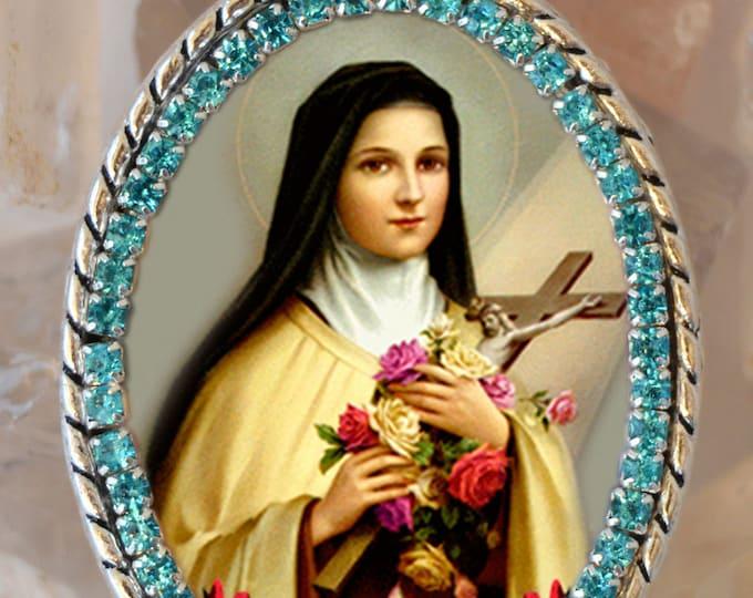 Saint Therese of Lisieux, Santa Teresa, Handmade Necklace Catholic Christian Religious Jewelry Medal Pendant