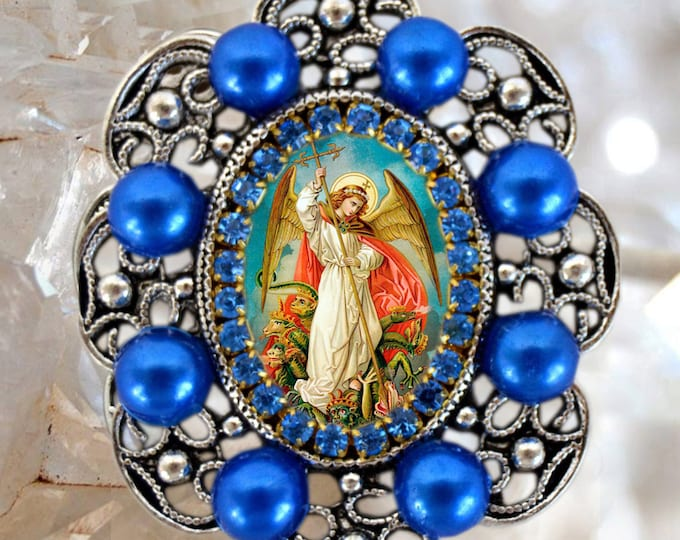 St. Michael Archangel Handmade Necklace Catholic Christian Religious Charm Jewelry Medal Pendant