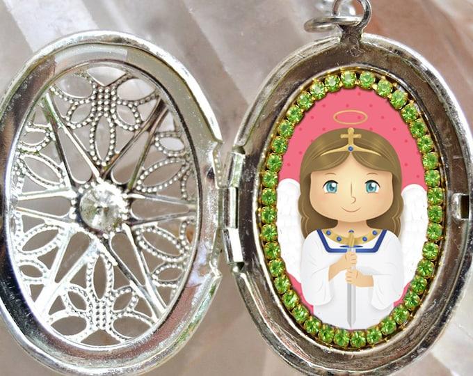 St. Michael Archangel Handmade Locket Necklace Catholic Christian Religious Charm Jewelry Medal Scapular Pendant