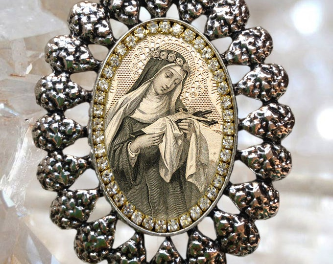 Saint Rose of Lima Locket Vintage Style Handmade Necklace Catholic Christian Religious Jewelry Medal Pendant Santa Rosa de Lima