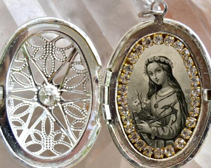 St. Philomena: Patron Saint of Babies, Infants, and Youth Vintage Handmade Locket Catholic Christian Religious Jewelry Medal Pendant