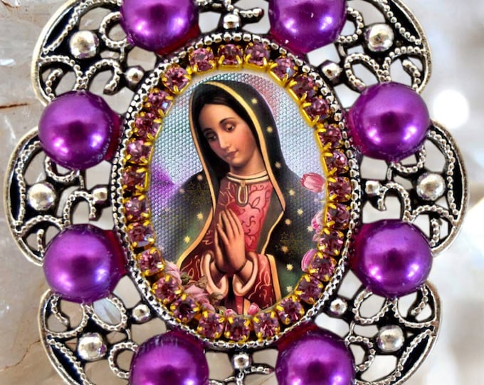 Our Lady of Guadalupe Handmade Necklace Catholic Christian Religious Jewelry Medal Pendant