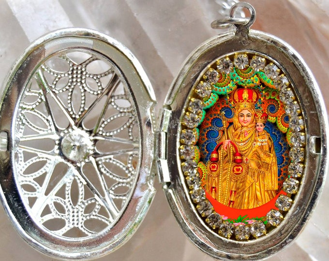 Our Lady of Good Health Locket Necklace Our Lady of Vailankanni Catholic Christian Religious Jewelry Medal Pendant