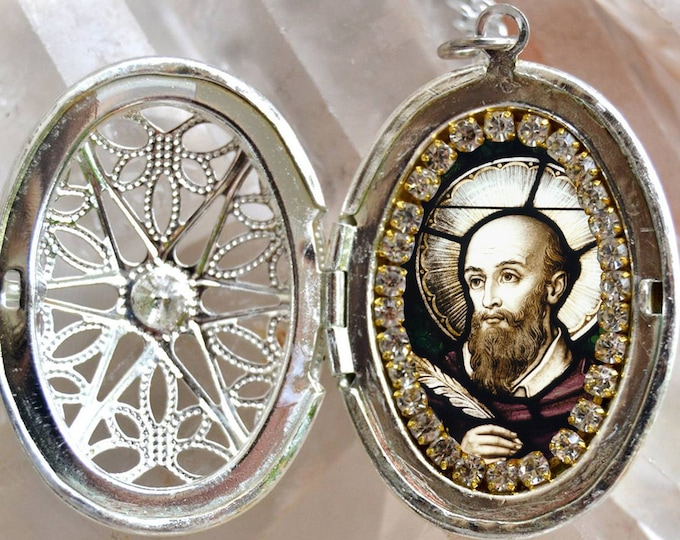 St. Francis de Sales Locket Patron Saint for Writers Necklace Catholic Christian Religious Jewelry Medal Pendant