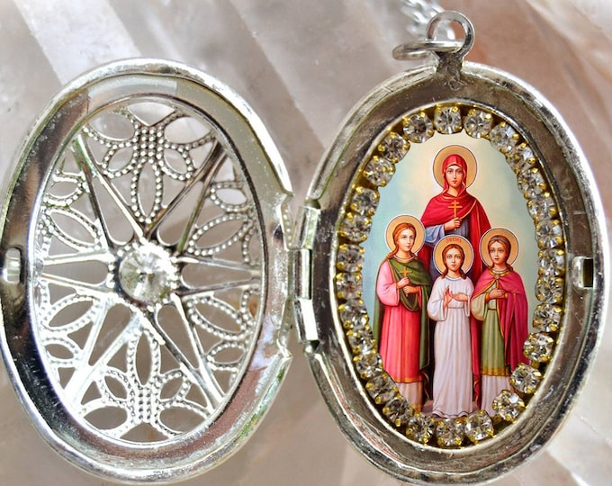 Saint Sophia Locket, Handmade Necklace Catholic Christian Religious Jewelry Medal Pendant