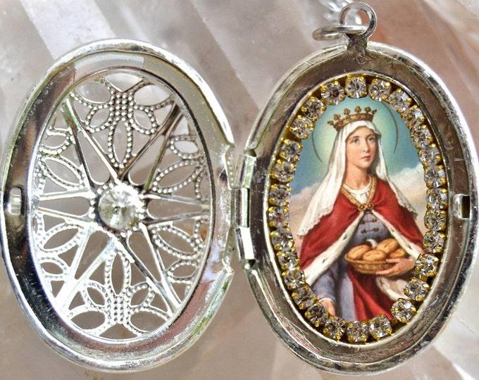 Saint Elizabeth of Hungary Locket Necklace Catholic Christian Religious Jewelry Medal Pendant Saint Elizabeth of Thuringia