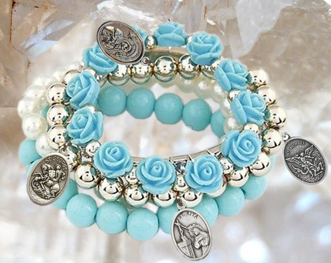 Personalized PATRON SAINTS Bracelet - Choose 4 medals to your bracelet