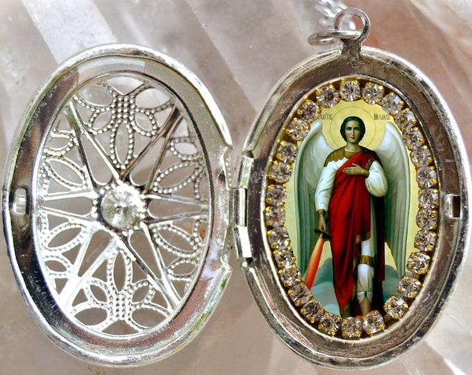 St. Michael Archangel Handmade Locket Necklace Catholic Christian Religious Jewelry Medal Scapular Pendant