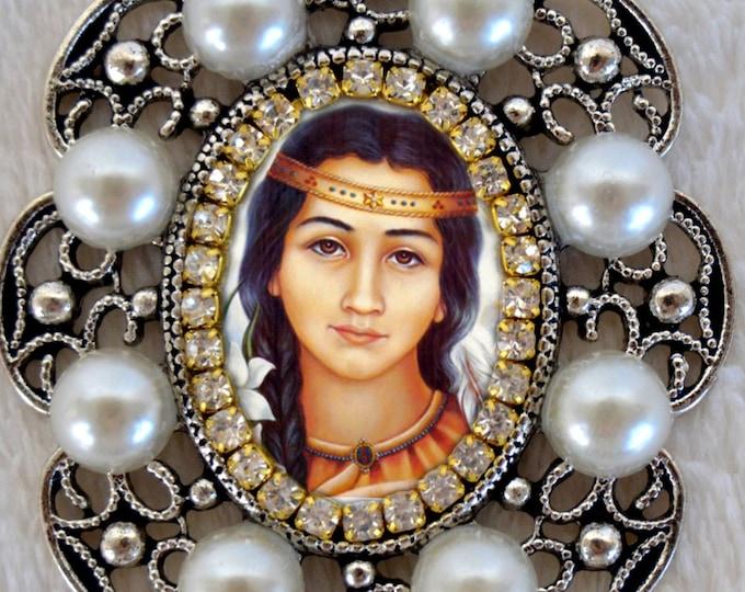 Saint Kateri Tekakwitha Handmade Necklace Catholic Christian Religious Jewelry Medal Pendant