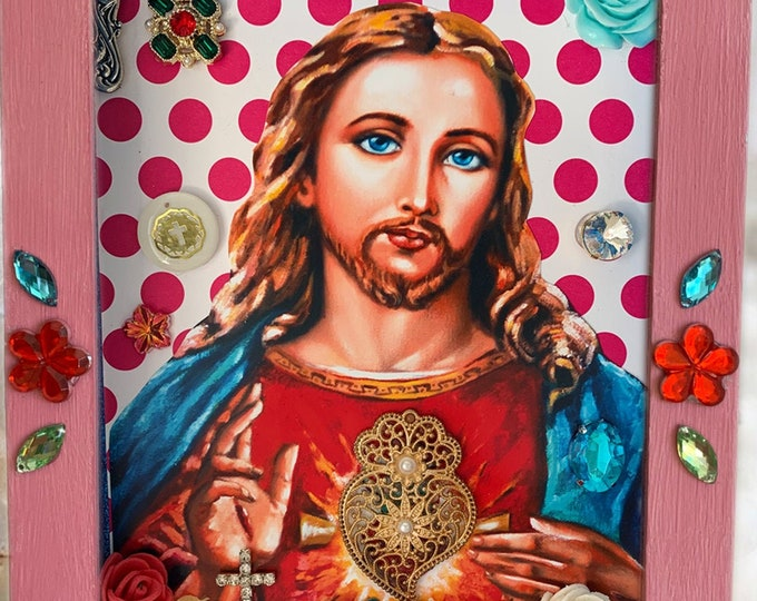 UNIQUE SHRINE Jesus - Sacred Heart, EXCLUSIVE Catholic Christian Religious Art; Nicho; Travel Altar