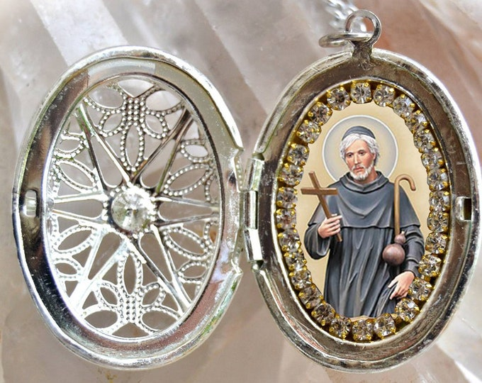 Saint Peregrine Handmade Locket Patron Saint of the Cancer Patients Necklace Catholic Christian Religious Jewelry Medal Pendant