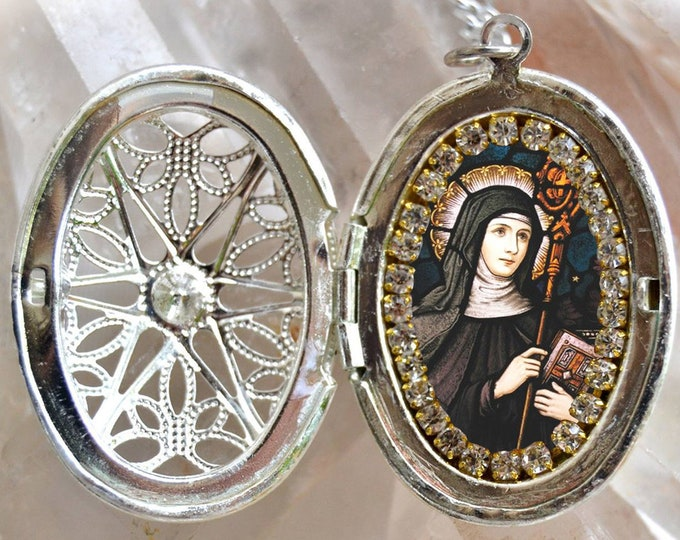 Saint Gertrude of Nivelles The Great  Necklace Handmade Catholic Christian Religious Jewelry Medal Pendant