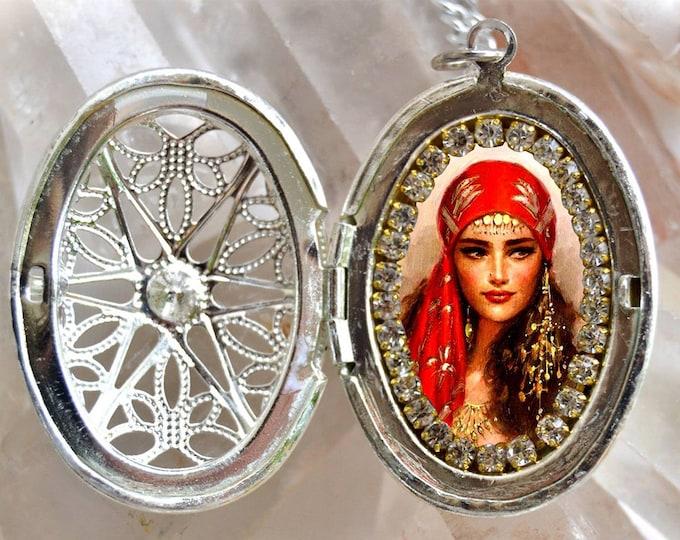 Gipsy Woman Locket; Handmade Necklace Honor to Saint Sarah Kali ; Gypsies Catholic Religious Jewelry Medal Pendant