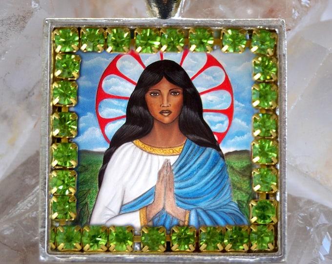 Saint Sarah Kali or Sara Kali Handmade Scapular Necklace Gypsies Patron Saint Catholic Christian Religious Jewelry Medal Pendant