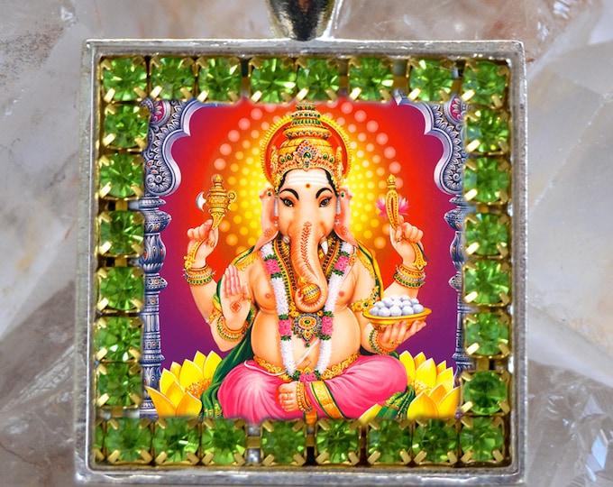 Lord Ganesha Chatutthi or Ganesh Handmade Scapular Necklace Hindu Jewelry Medal Pendant