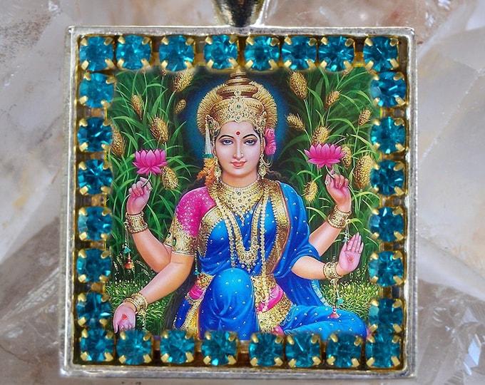 Goddess Lakshmi Handmade Scapular Necklace Hindu Jewelry Medal Pendant