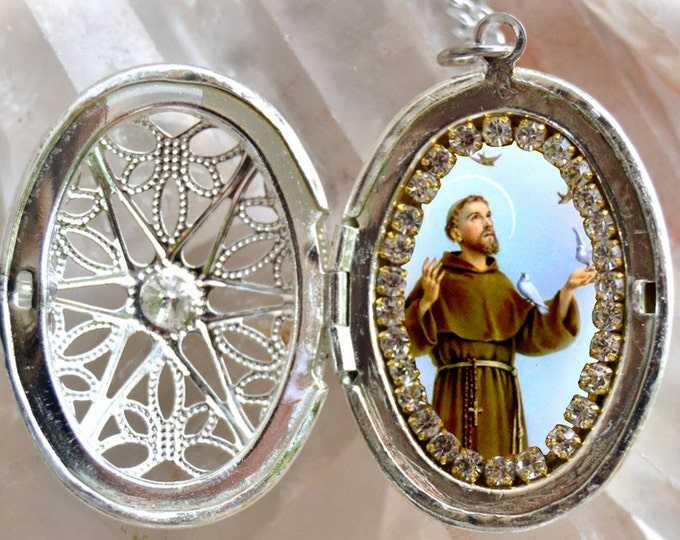 St. Francis of Assisi Locket Handmade Catholic Christian Religious Jewelry Medal Pendant