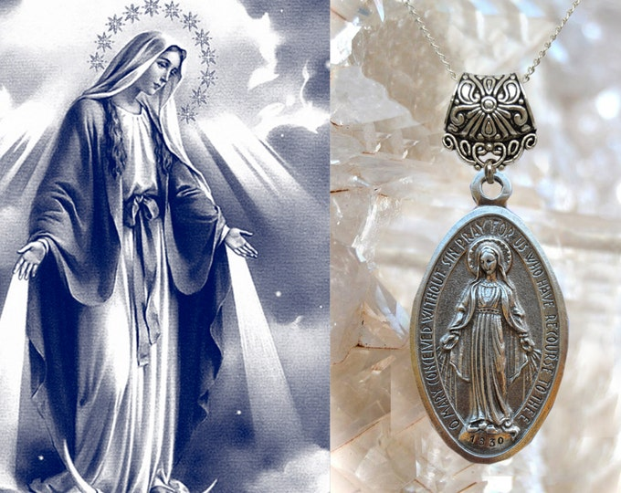 Our Lady Mary Mediatrix of All-Grace Charm Necklace Miraculous Medal Catholic Christian Religious Jewelry Medal Pendant