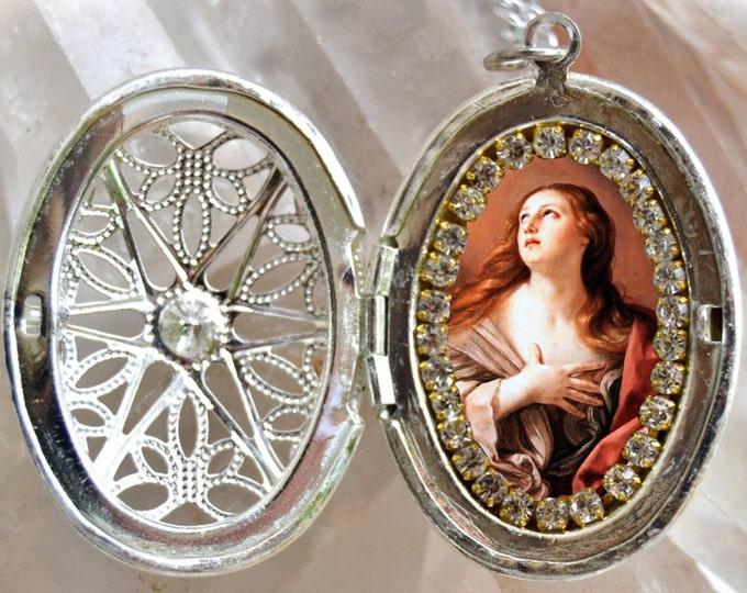 Saint Mary Magdalene Filigree Handmade Locket Necklace Catholic Christian Religious Jewelry Medal Pendant