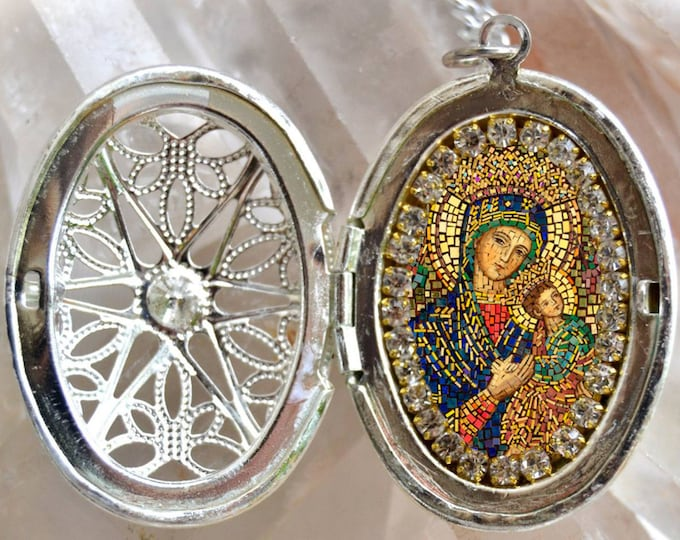 Our Lady of Perpetual Help Handmade Locket Necklace Christian Religious Jewelry Medal Pendant Our Lady of Perpetual Succour Theotokos