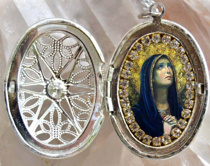 Our Lady of Sorrows or Sorrowful Mother Charm Locket Necklace Catholic Christian Religious Jewelry Medal Pendant, Mater Dolorosa
