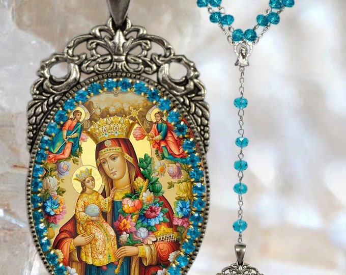 Rosary of Virgin of Unfading Bloom Handmade Catholic Christian Religious Jewelry Medal Pendant Our Lady of Perpetual Succour Theotokos