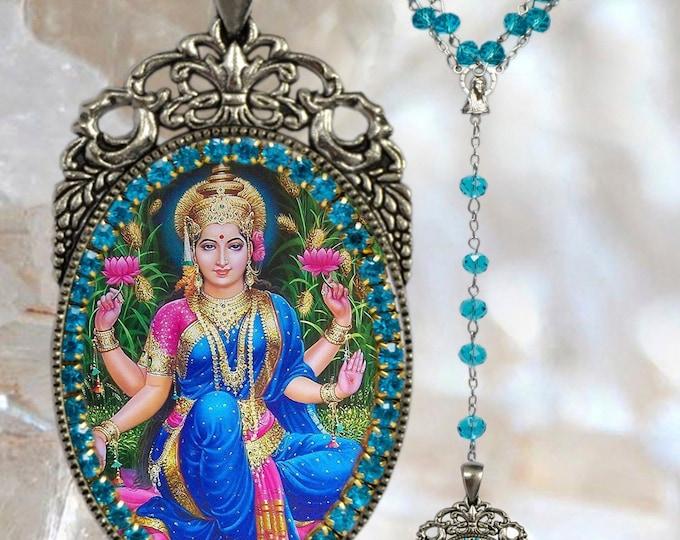 Lakshmi Goddess Rosary Necklace Hindu Jewelry Medal Pendant
