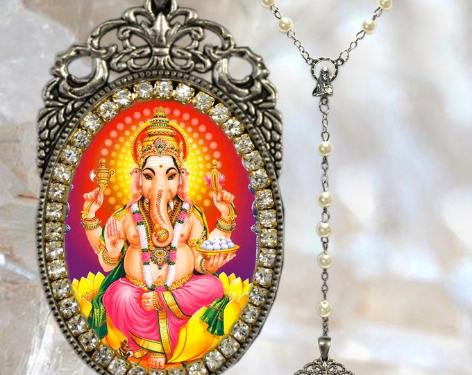 Ganesha Rosary Handmade Necklace Hindu Jewelry Medal Pendant Ganesh Chatutthi or Ganesh