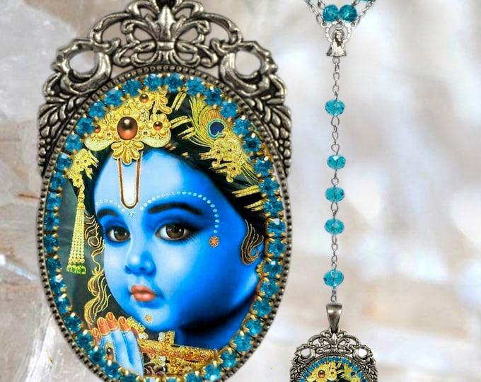 Krishna Leela Rosary God of Compassion, Tenderness and Love Necklace Hindu Jewelry Govinda, Mukunda, Madhusudhana, Vasudeva, Makhan chor