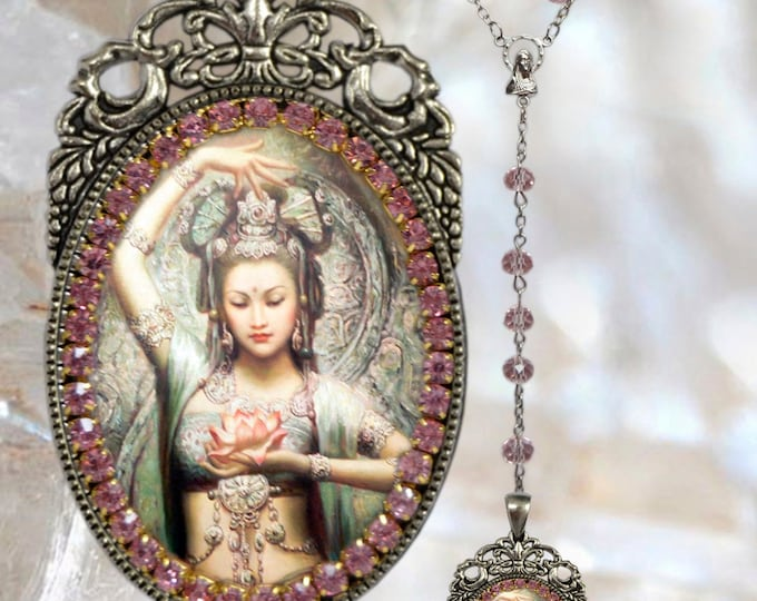 Kuan Yin Rosary - Goddess of Mercy and Compassion Handmade Jewelry Medal Pendant