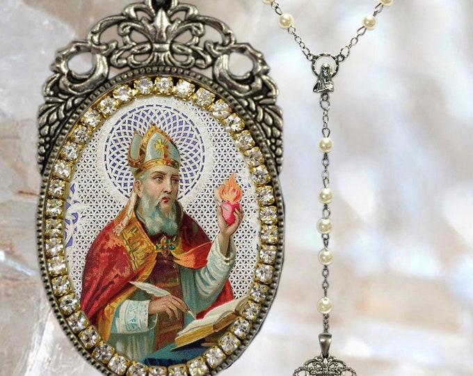 Saint Augustine of Hippo - Rosary - Handmade Religious Jewelry