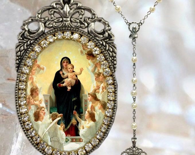 Queen of Angels (Our Lady) Rosary - Handmade Necklace Catholic Christian Religious Jewelry Medal Pendant