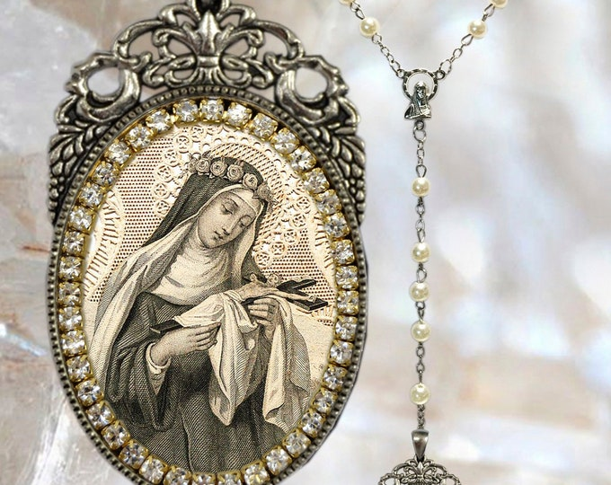 Rose of Lima Rosary - Patroness of Latin America; Embroiderers; Gardeners; Florists & Resolution of family Quarrels - Handmade Necklace