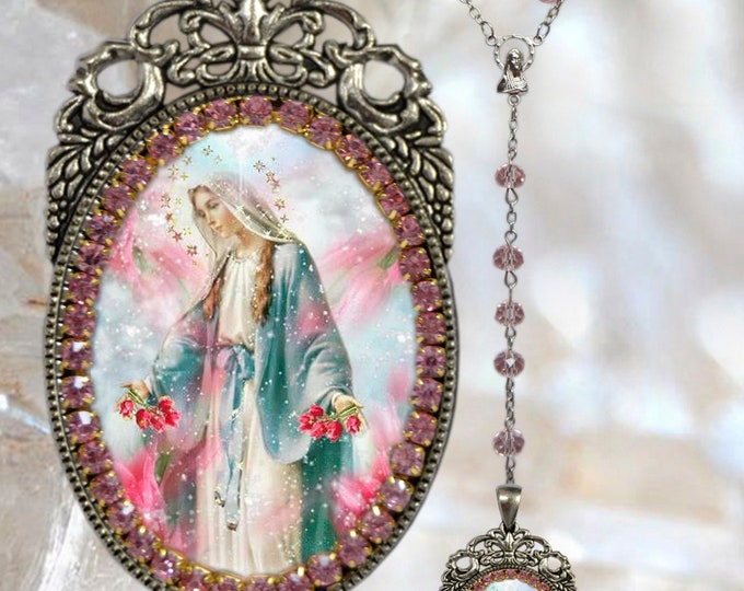 Our Lady Mary Mediatrix of All-Grace Rosary -  Handmade Miraculous Medal Christian Religious Jewelry Medal Pendant Nossa Senhora das Graças