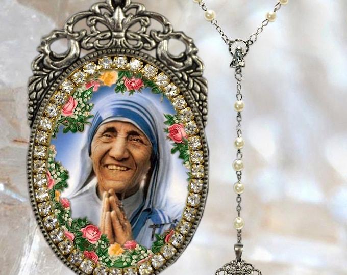 Rosary of Saint Mother Teresa of Calcutta Handmade Catholic Christian Religious Jewelry Medal Pendant Madre Teresa of Calcutta