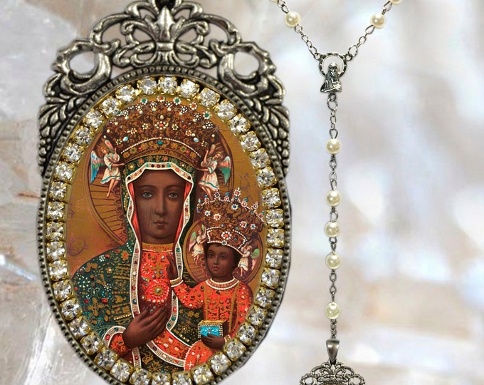 Black Madonna of Czestochowa - Rosary - Patroness of Poland -  Handmade Catholic Christian Jewelry Pendant