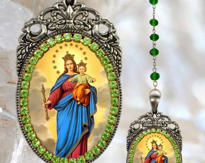 Our Lady, Help of Christians Rosary; Nuestra Señora María Auxiliadora Handmade Necklace Catholic Christian Religious Jewelry Medal