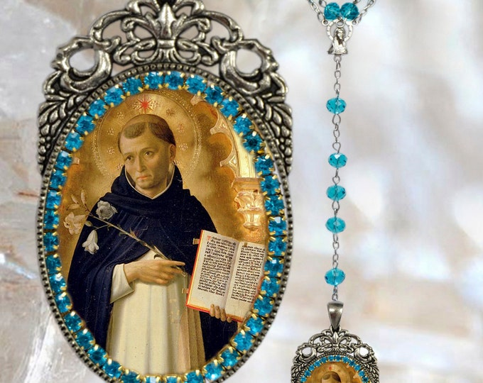 Thomas Aquinas Rosary - Patron Saint of Academics; Against storms;  Book Sellers; Chastity; Philosophers; Publishers & Students - Handmade