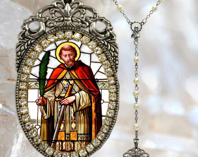 Saint Valentine Rosary -  Patron Saint of Affianced Couples; Against Fainting; Beekeepers; Happy Marriages; Love & Epilepsy -  Handmade