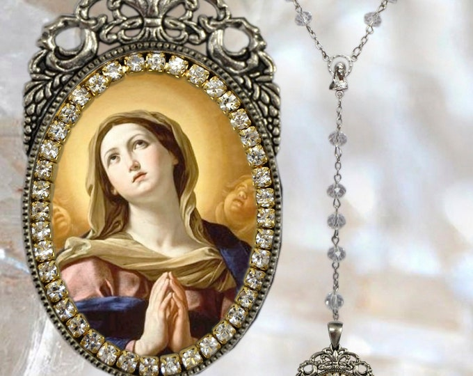 Immaculate Conception Rosary of Mary Handmade Necklace Catholic Christian Religious Jewelry Medal Pendant, Mary Immaculate