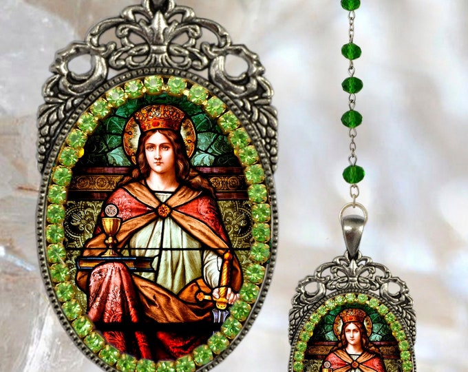 Saint Barbara Handmade Rosary - Patroness of Firemen; Miners; Architects; Prisoners Catholic Medal Pendant
