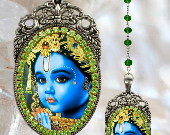 Krishna Leela Rosary God of Compassion, Tenderness and Love Necklace Hindu Jewelry Govinda, Mukunda, Madhusudhana, Vasudeva, Makhan chor